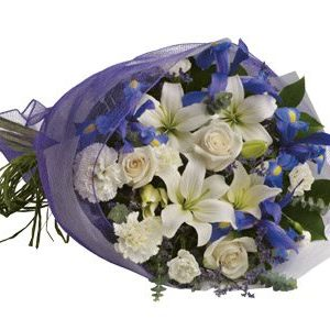 Blue joy roses lilies sim carnations blue iris a beautiful bqt