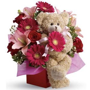 stylish-celebration-flowers beautiful flower arrangement and bear