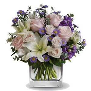 glass cube white flowers soft pink roses and mauve