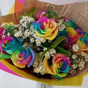 Rainbow rose bouquet Westridge Florist Toowoomba