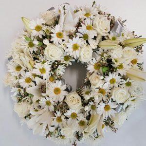 white flower Anzac wreath
