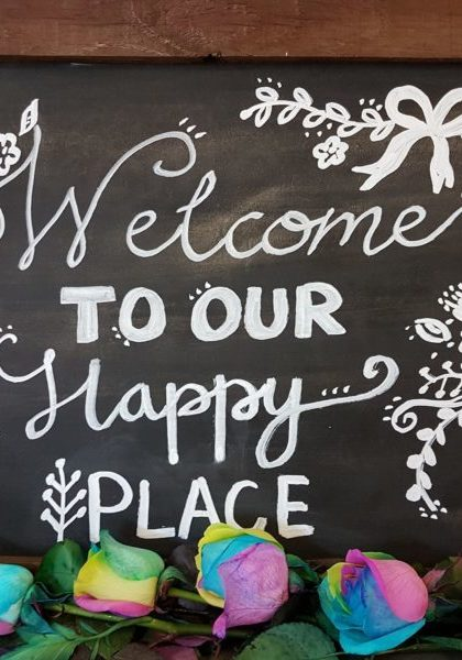 Welcome-to-our-happy-place-sign-local toowoomba florist